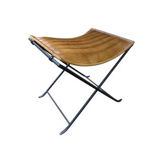 Brown Iron and Leather Folding Stool For Sale