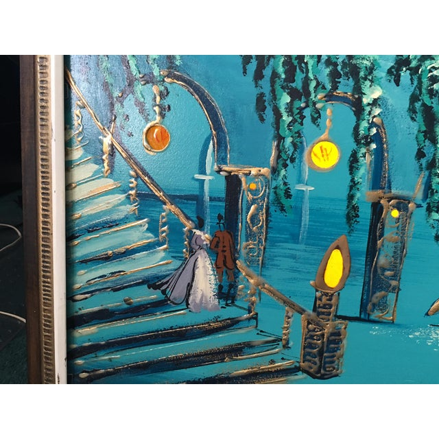 Mid Century Modern Light-Up Oil Painting Signed by Carlo - Image 7 of 9