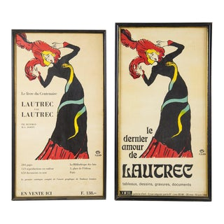 1964 Framed Reproduction Gallery Posters by Toulouse- Lautrec - A Pair