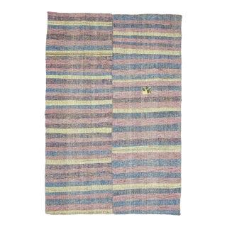 Vintage Striped Turkish Rag Rug For Sale