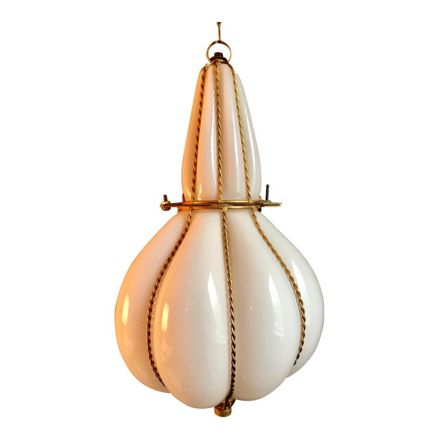 Mid-Century Murano Caged Glass Lantern Pendant Swag Light For Sale