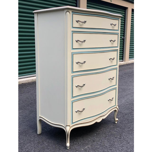 White White French Provincial Drexel Tall Dresser For Sale - Image 8 of 11