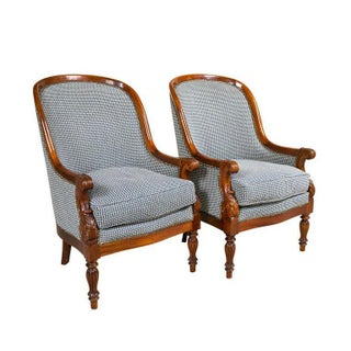 Pair Mahogany Empire Style Armchairs For Sale