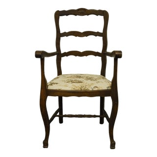 Vintage Walnut Louis XVI French Provincial Dining Arm Chair For Sale