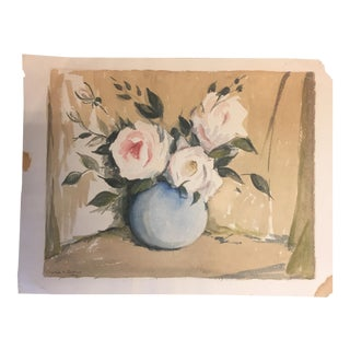 Original Vintage Roses Watercolor Painting For Sale