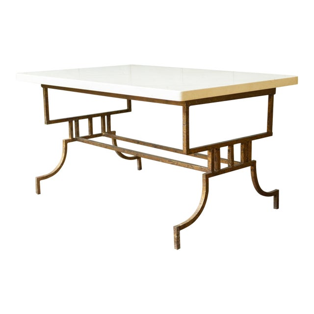 French 1940s Gilt Iron Coffee Table With Marble Top For Sale