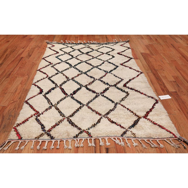 Breathtaking Geometric Vintage Ivory Beni Ourain Moroccan Rug, Country of Origin / Rug Type: Morocco, Circa Date: Mid –...