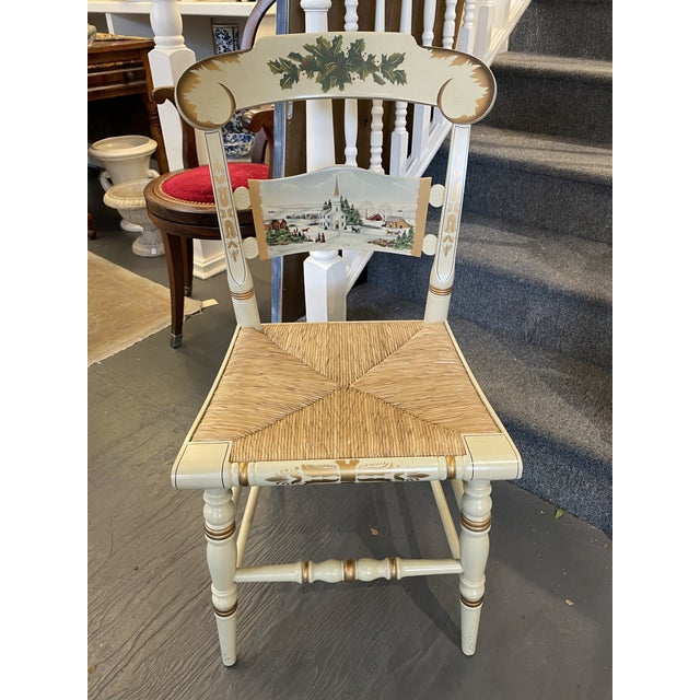 Wood Vintage Limited Edition Hancock Christmas Rush Seat Side Chair For Sale - Image 7 of 7
