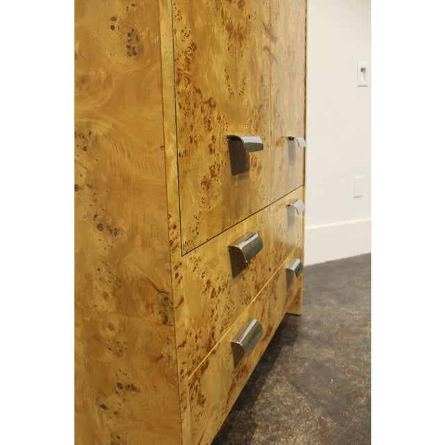 Burlwood Mid Century Modern Burl and Chrome High Chest Wardrobe by Pace For Sale - Image 7 of 10