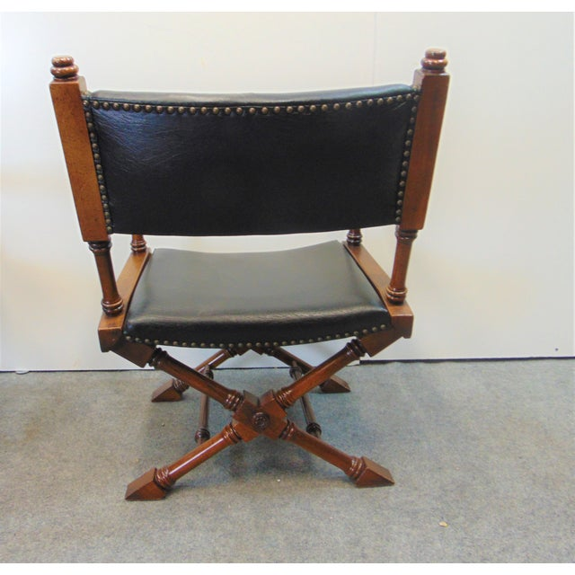 Hollywood Regency Leather X Base Fruitwood Director Chair For Sale - Image 4 of 7