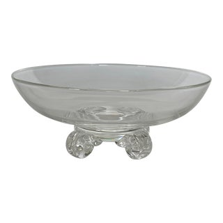 70-Early 1980s Steuben Studio Crystal Footed Bowl For Sale