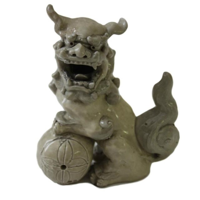 Mid-Century Modern Antique Pottery Foo Dogs, Pair For Sale - Image 3 of 6