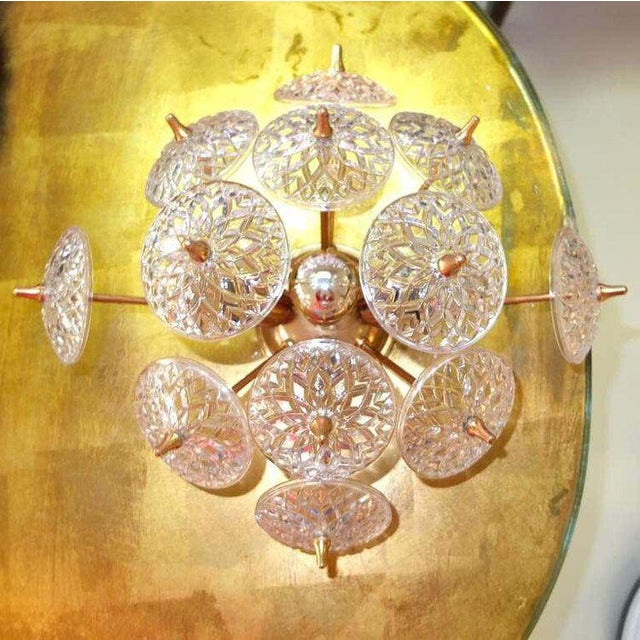 Vintage 1960's Belgian wall or ceiling mounted lamp in brass and 12 Val Saint Lambert crystal disks. Also available in...