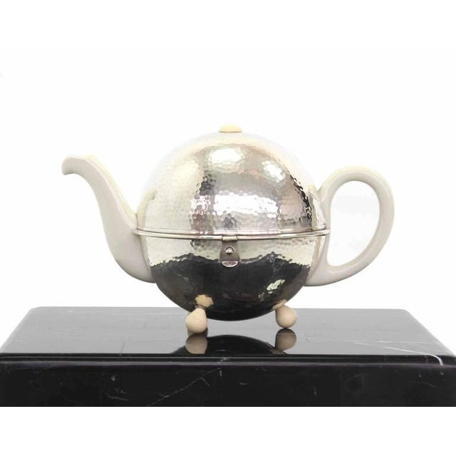 Silver WMF Porcelain Tea Pot in Hammered Metal Insulated Cover For Sale - Image 8 of 10