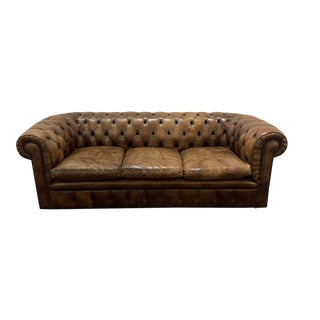 1980s Brown Leather Chesterfield Sofa For Sale