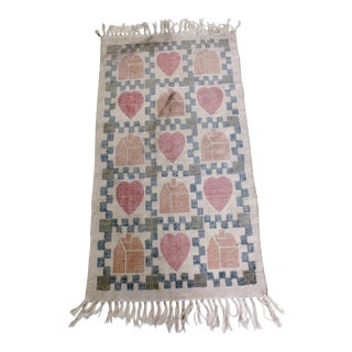 Contemporary Machine Cotton Rug Heart and Home, Cotton Made For Sale