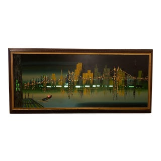 Mid Century Signed Carlo of Hollywood Cityscape San Francisco Acrylic on Board Lighted Painting For Sale