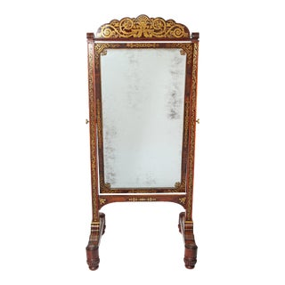 English Regency Rosewood Brass Inlay Boulle Work Cheval Mirror For Sale