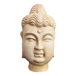 1940s Vintage Chinese Blanc De Chine Style Buddha Head For Sale