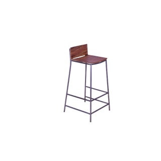 """Perryn Iron Legs Wooden Bar Stool, Kitchen Counter Height Stool With Metal Legs, 39"""" H, Natural Finish For Sale"""