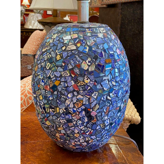 1990s Broken China Mosaic Lamps - a Pair For Sale - Image 9 of 13