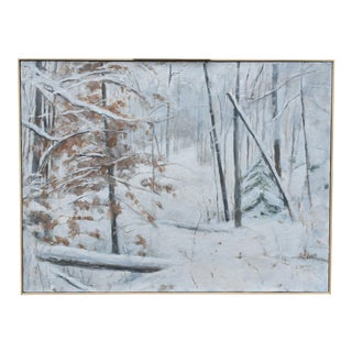 "Contemporary 2010s Snowscape Painting, ""Snowy Hillside"" by Stephen Remick For Sale"
