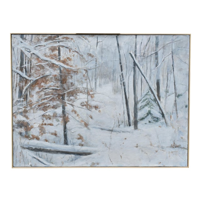 """Contemporary Snowscape Painting, """"Snowy Hillside"""", by Stephen Remick For Sale"""