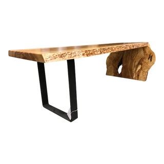 Live Edge Wood and Steel Waterfall Bench or Table For Sale
