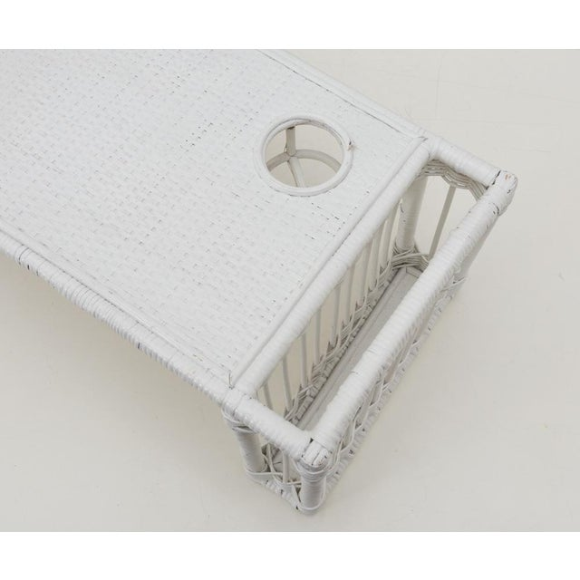 Mid 20th Century White Wicker Rattan Breakfast in Bed Tray For Sale - Image 5 of 6