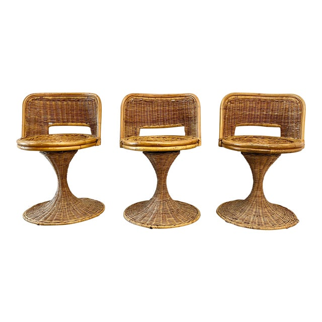 Mid Century Modern Danny Ho Fong Woven Rattan Swivel Chairs - Set of 3 For Sale