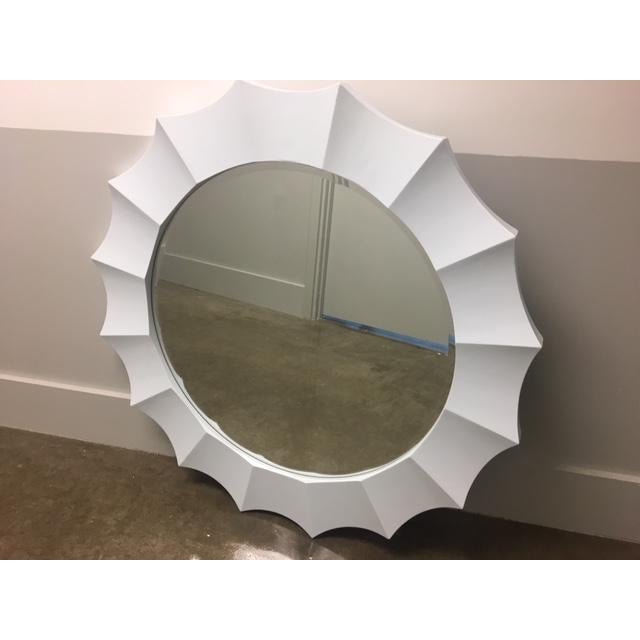 Glass Transitional Round Wall Mirror For Sale - Image 7 of 7