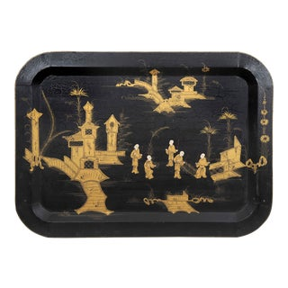 Vintage Chinoiserie Tray With Black Background and Handpainted Oriental Scenery in Gold For Sale