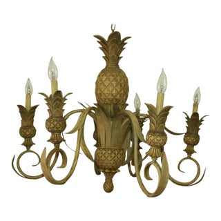 Palm Beach Regency Sculpted Pineapple 6 Arm Chandelier With Tasseled Shades For Sale