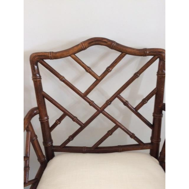 1980s Vintage Faux Bamboo Arm Chairs- A Pair For Sale - Image 9 of 13