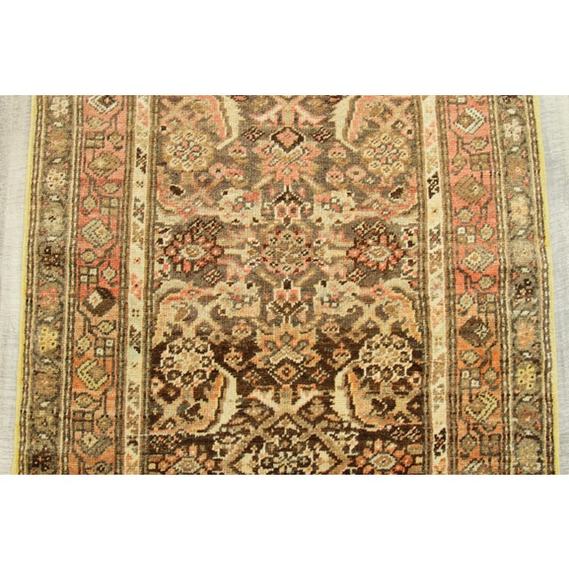 1930s Vintage Persian Zanjan Style Rug - 3′2″ × 12′9″ For Sale - Image 9 of 10