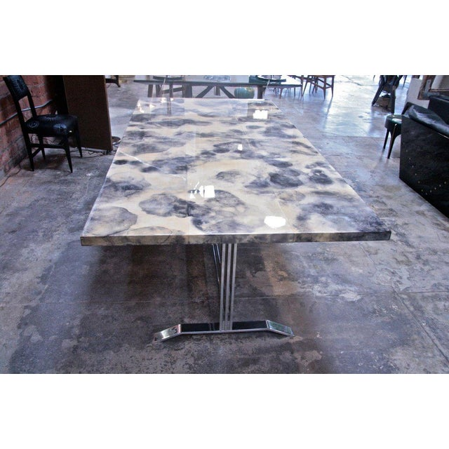 1960s Parchment and Resin Dining Table with Stainless Steel Base For Sale - Image 5 of 9