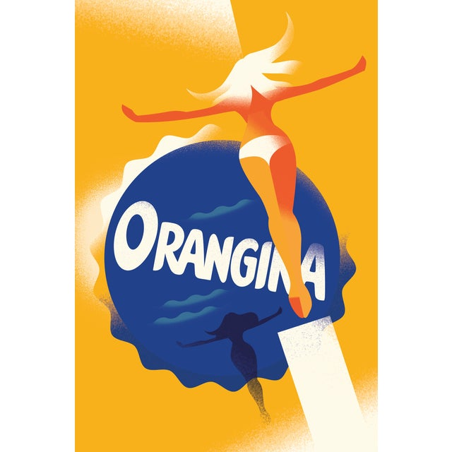 This is a beautiful Danish poster by Danish illustrator Mads Berg titled Orangina Ad. Mads Berg is a Danish illustrator...