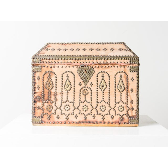 Nail-mounted cloth covered antique box. From Spain, circa 1820.