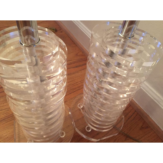 Stacked Lucite Lamps - A Pair - Image 4 of 11