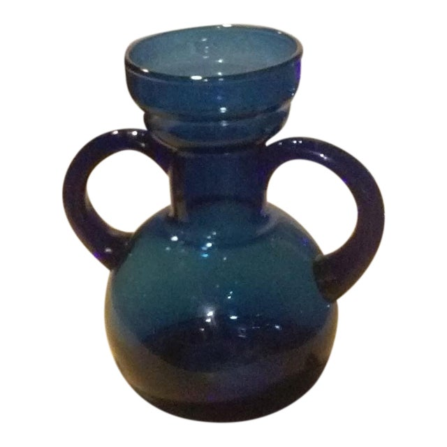 Blue Blown Glass Bulb Vase With Applied Handles For Sale