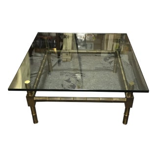 20th Century Hollywood Regency Brass Bamboo Glass Top Coffee Table For Sale