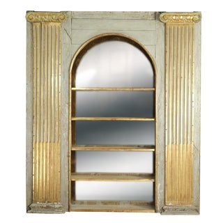 Whimsical Painted Italian Architectural Element Fitted as a Bookshelf With Gilded Ionic Columns, Circa 1820. For Sale