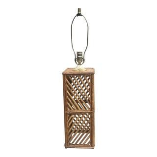 1970s Bamboo Table Lamp, Geometric Boho Chic