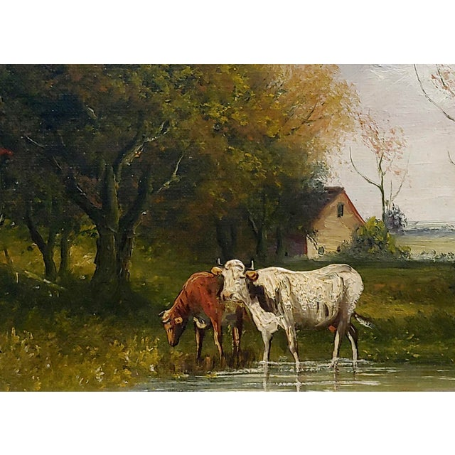 Jaques Durant -Landscape W/ Cows-Impressionist Oil Painting-C1860s For Sale - Image 4 of 10