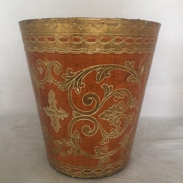 Vintage Round Florentine Wood Wastebasket - Image 2 of 5