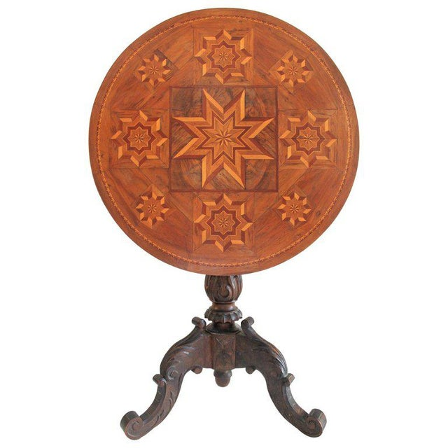 Antique Table With 19th Century Marque Inlaid Stars Top For Sale - Image 11 of 11