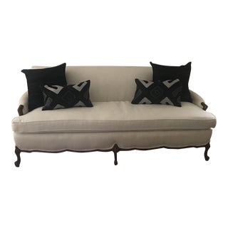 Vintage French Style Sofa Oyster Linen & Pillows For Sale