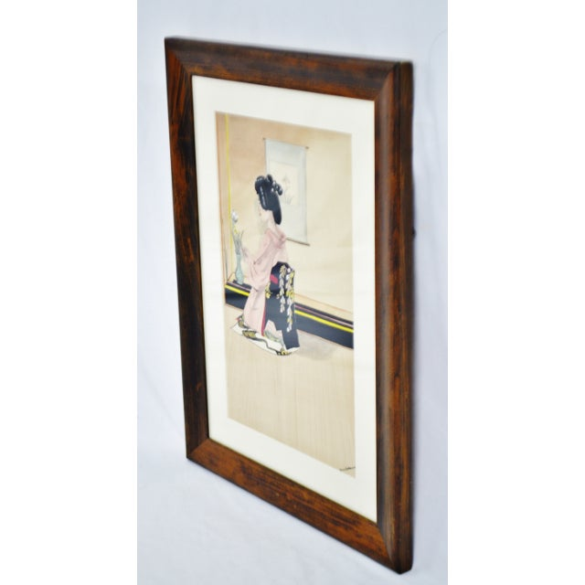 Asian Vintage Framed Ink & Watercolor Japanese Geisha Painting - Artist Signed For Sale - Image 3 of 13
