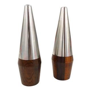 Pair of Danish Rosewood & Chrome Salt & Pepper Shakers For Sale