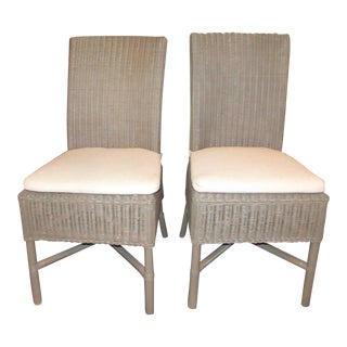 Crate & Barrel Wicker Vineyard Dining / Side Chair With Cushions - Set of 4